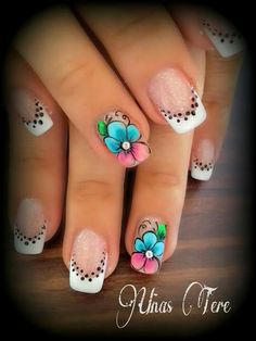 Flores Fingernail Designs, Nail Art Designs, Gorgeous Nails, Pretty Nails, Holiday Nail Designs, Magic Nails, Nail Time, Floral Nail Art, French Tip Nails