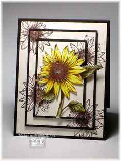 Hands, Head and Heart: Peeking Sunflowers.This triple panel technique is so easy to do! Just make a mat stack of three layers, piled on top of each other (Pure Luxury Ivory) and stamp your images over the edges (Memento Rich Cocoa) Then cut and layer c Sunflower Cards, Fall Cards, Copics, Card Tags, Halloween Cards, Paper Cards, Creative Cards, Greeting Cards Handmade, Scrapbook Cards
