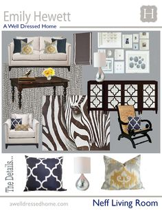 I like the various patterns used. Neff Living Room Design Board