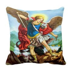 Saint Michael the Archangel Throw Pillow & Deliverance from Evil Prayer on Back!