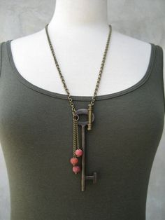 Antique Skeleton Key Necklace. Would be fun w/ additional found objects + clay/glass beads