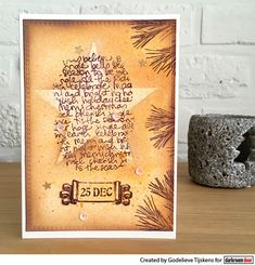 Card by Godelieve Tijskens using Darkroom Door Star Set Stencil and Christmas Script Texture Stamp
