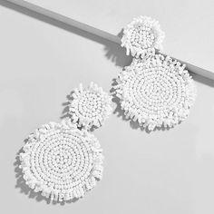 Bar Stud Earrings, Big Earrings, White Earrings, Circle Earrings, Etsy Earrings, Statement Earrings, Pendant Earrings, Beaded Tassel Earrings, Beaded Jewelry