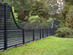 black square lattice fence
