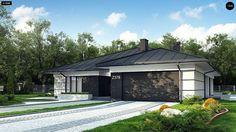 Проект ститьного одноэтажного дома с просторной террасой и с гаражом на два автомобиля S3-186-5 (Z378). Визаулизация 2. Shop-project