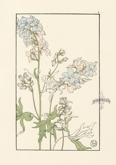 "The Larkspur - Jeannie Foord - ""Decorative Flower Studies"", Pochoir Prints, 1901."