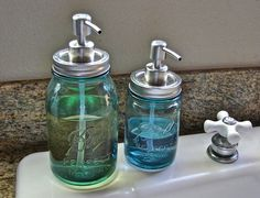 Hand Made Brushed Stainless Steel Mason Jar Pump  LId For Soap or Lotion. $7.00, via Etsy.