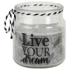 EUR 0,69 - kaars glazen potje 5.5x6.5cm rond div. Live For Yourself, Dreaming Of You, Jar, Home Decor, Action, Decoration, Decor, Decoration Home, Group Action