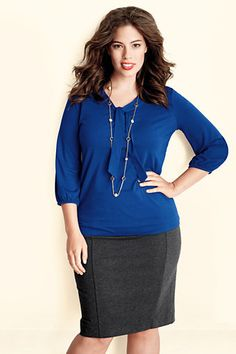 Women's Plus Size Lightweight Cotton Modal 3/4-sleeve Tie Neck Top from Lands' End
