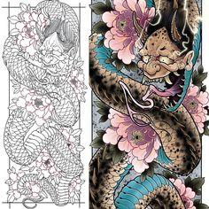 Best Geometric Tattoos And Symbolism Japanese Snake Tattoo, Japanese Tattoo Designs, Japanese Sleeve Tattoos, Cover Up Tattoos, Body Art Tattoos, Tattoo Drawings, Traditional Japanese Tattoo Flash, Hannya Tattoo, Dibujos Tattoo