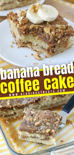 This recipe lets you enjoy two breakfast favorites in one! Banana Bread Coffee Cake is perfect at any time of the day. Filled with banana, walnuts, cinnamon, and sugar, this moist and flavorful treat will become a favorite! You will love this fun twist on a coffee cake!