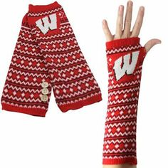 Wisconsin Badgers Knit Arm Warmers - Cardinal