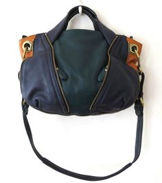741d767dca orYANY TEAL Pebble Leather Color-Block Lian Satchel Handbag Purse  356 SO  COOL!!