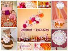 pancakes pajamas pinwheels first birthday party collage