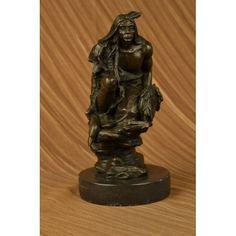 Rare Wood 100/% Bronze Indian Girl Bust Original Western Art Sculpture Statue LRG