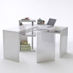 Sydney Rotating Office Desk In High Gloss White 40126w Corner Computer Furniture Fashion