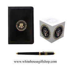 """White House Jotter Black Lacquer Set, The White House Pocket Jotter, Post Notes Desk Cube, & White House Black Lacquer Presidential Roller Ball Pen, White House Seal Gold Seal Pen Box, 4"""" x 3"""" Jotter Pad, Black Lacquer Roller Ball Pen. Enter Promo Code """"PIN"""" for 10% off your entire order!"""