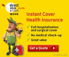 http://www.directasia.com.hk/en/health-insurance/ Get Full Protection Health Insurance from DirectAsia.com.  Cover your full hospital bills instantly without the hassle of going through a medical check-up.  Get a Quote Now!