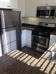 Pegasus 1 Kitchen With Granite Countertops, Stainless Steel Appliances, And  NEW Wood Style Flooring