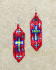Native American Red Seed Beaded Earrings, Cross Pattern #WomensAccessories #SeedBeads #SouthwesternStyle #WomensFashion #WesternFashion #WesternStyle #CowgirlChic #WesternChic