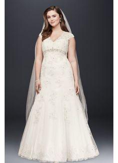 Cap Sleeve Lace Over Satin Plus Size Wedding Dress 9T3299