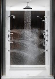 """Multiple shower heads from all directions is the best way to stay warm in the shower. """"Total Escape"""" shower from Brizo. This is my dream shower! Dream Bathrooms, Beautiful Bathrooms, Bathroom Modern, Bathroom Interior, Small Bathroom, Luxury Bathrooms, Master Bathrooms, Multiple Shower Heads, Double Shower Heads"""