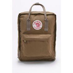 Fjallraven Kanken Classic Sand Backpack (140 CAD) ❤ liked on Polyvore featuring bags, backpacks, tan, fjallraven backpack, zip bag, sand bags, rucksack bags and fjällräven