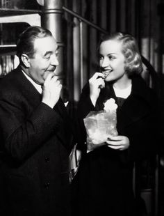 Carole Lombard & Walter Connolly on the set of Twentieth Century, 1934