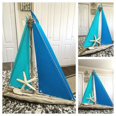 Medium Driftwood Sailboat with Blue Canvas by TreasuresByTonia
