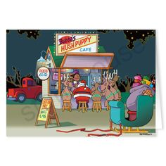 Hush Puppy Pit Stop Christmas Card.  Santa and his team stopping to refuel on their journey!  Roadside diner, the best food for a road trip!
