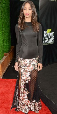 get the details on Zoe Saldana's stunning outfit