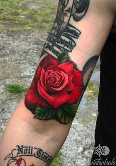 Realism Red Rose tattoo with leaves By Christopher Hedlund - Winterhalo NYC Tattoo Artist tattoos best art illustration illustrator realistic realism drawing painting colorful bright pretty beautiful color New York City Chris floral flower Bright Flower Tattoos, Bright Flowers, Floral Flowers, Nyc Tattoo Artists, Bicep Tattoo, Biceps, Red Roses, Illustrator, Tattoo Ideas