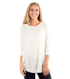 Stylist, I'd really love a creamy/white crew/scoopneck LONG sweater like this:  Texturize Sweater