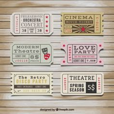 Retro tickets collectie Gratis Vector