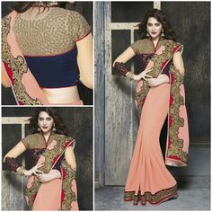 Creamy Punch With heavy Border and rendy Designer Blouse Product Number:NRNS-MNMH3716