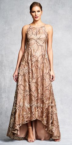 Embroidered Keyhole Slit Halter Evening Dress by Aidan Mattox