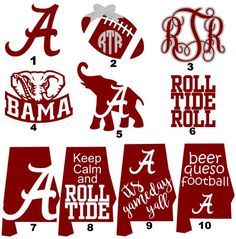 You Pick 3 Alabama Decals / Roll Tide / Alabama Football / University of Alabama / Crimson / Vinyl Decal / Jeep Yeti Bison RTIC SIC This listing is for three of the decals shown in the photo, you pick which three you would like and the col Alabama Football Shirts, Crimson Tide Football, Alabama Crimson Tide, Roll Tide Alabama, Alabama Football Logo, Lsu Alabama, Alabama Quilt, Alabama Baby, Cricut Vinyl