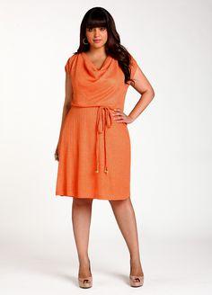 Ashley Stewart: Foil Drape Neck Dress