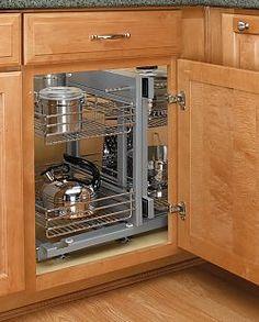 Rev-A-Shelf - Soft-Close Blind Corner Optimizer for Opening - (Chrome) - The Hardware Hut Kitchen Cabinet Storage, Kitchen Drawers, Kitchen Redo, New Kitchen, Kitchen Remodel, Kitchen Cabinets, Corner Cabinets, Kitchen Baskets, Cupboard