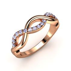 The Infinity Twist Band customized in rose gold and tanzanite-instead of diamonds I want the babies' birthstones alternating one another.