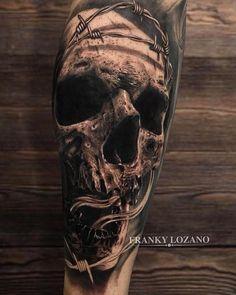 Calavera Skull. Composición realista en blanco y negro. Realistic tattoo. Black and grey portrait.