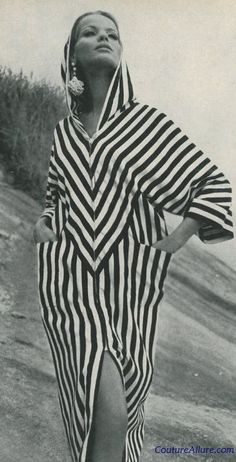 Black and white stripe beach robe by Court Jester, 1965
