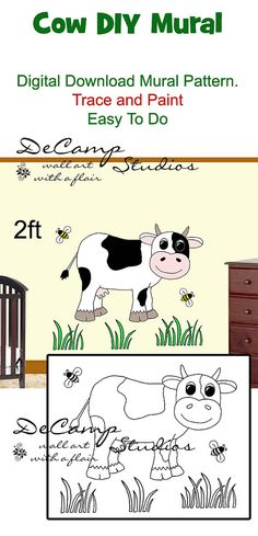 DIY Barnyard Cow Wall Art Mural Pattern Download for baby girl or boy nursery or kids room decor. Do It Yourself Trace and Paint by Number. Also great for church nursery, childcare, pediatric office, and preschool #decampstudios