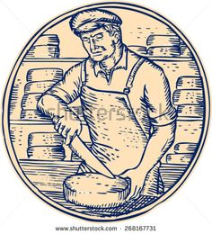 Etching engraving handmade style illustration of a cheesemaker standing holding knife cutting cheddar cheese block set inside circle with cheese blocks in the background.  - stock vector