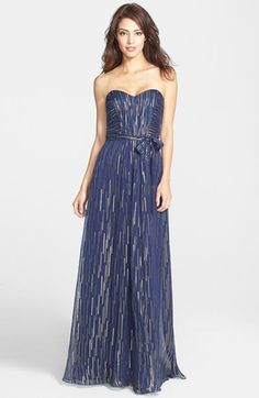 Laundry by Shelli Segal Metallic Silk Blend Strapless Gown