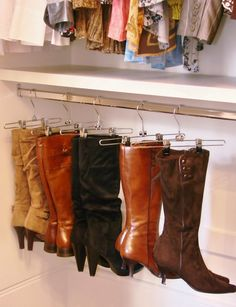 Suzie: Brown Eyed Bell - Glam closet with Target hangers used to display boots.