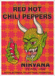 RHCP + Nirvana + Pearl Jam = Great Concert Poster - Imgur I want this poster in my room...