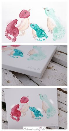 Gift idea // children& feet on canvas . - Keep memories: Children& footprints are a wonderful gift for grandparents, friends and godpar - Baby Crafts, Diy And Crafts, Wood Crafts, Paper Crafts, Grandparents Day Crafts, Diy Bebe, Footprint Art, Picture Gifts, Father's Day Diy