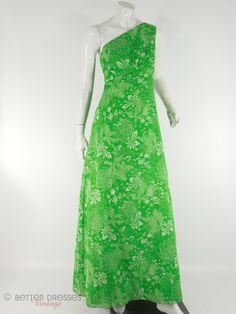 Vintage 70s Priscilla of Boston One-Shoulder Green Fern Print Maxi Dress & Wrap Shawl - small, medium by Better Dresses Vintage