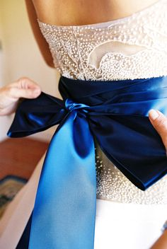 royal blue wedding dress sash photo by Yvette Roman Photography